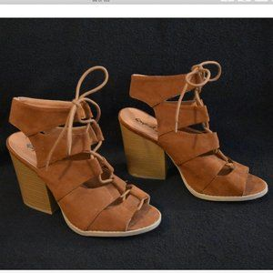 Tan heeled lace-up sandals